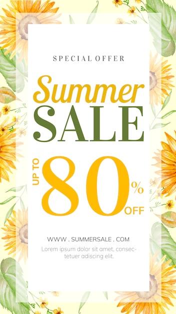 Storia di saldi estivi con decorazioni floreali disegnate a mano Vettore Premium