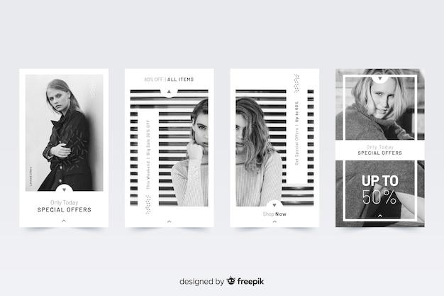 Storie astratte di instagram di vendita di moda Vettore gratuito