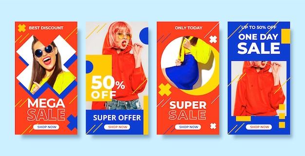 Storie colorate di instagram di vendita Vettore gratuito