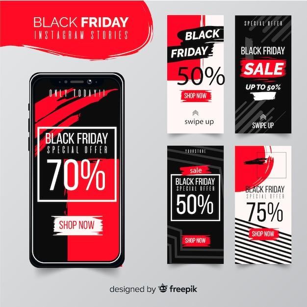 Storie di instagram collezione venerdì nero Vettore gratuito