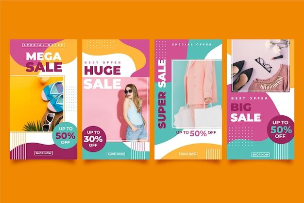 Storie di instagram di vendita colorate Vettore gratuito