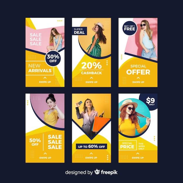 Storie di instagram di vendita di moda astratta Vettore gratuito