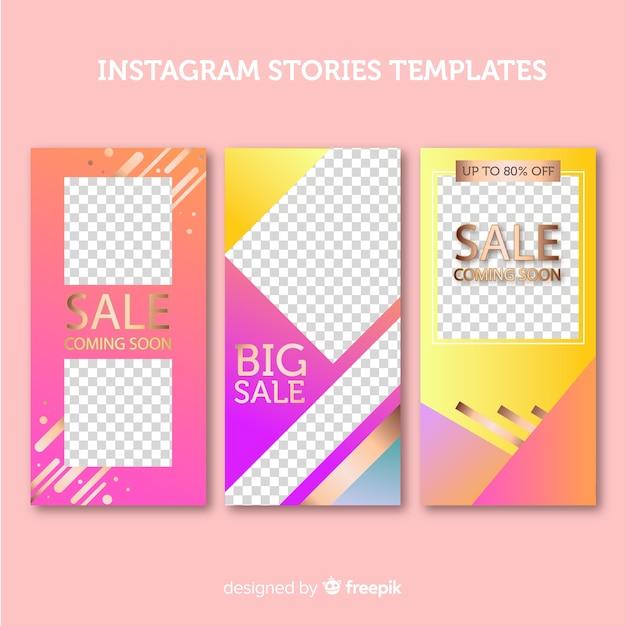 Storie di instagram incornicia i modelli Vettore gratuito
