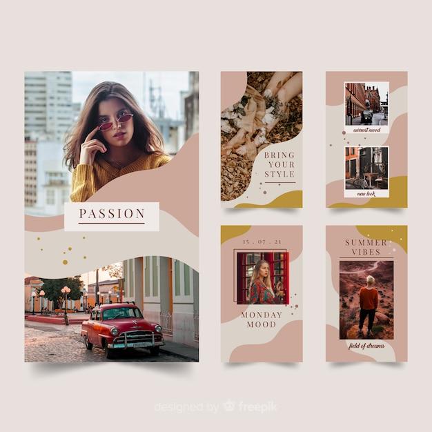 Storie di instagram modelli di moda Vettore gratuito