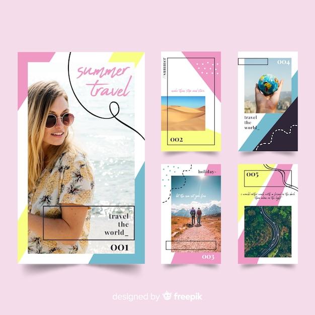 Storie di instagram modelli di viaggio Vettore gratuito