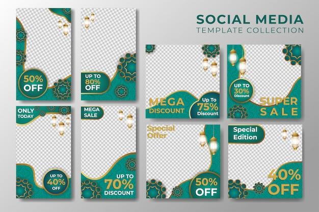 Storie di instagram sui social media e modello post islamico Vettore Premium