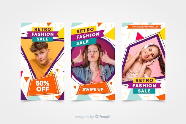 Storie di moda in vendita con foto Vettore gratuito
