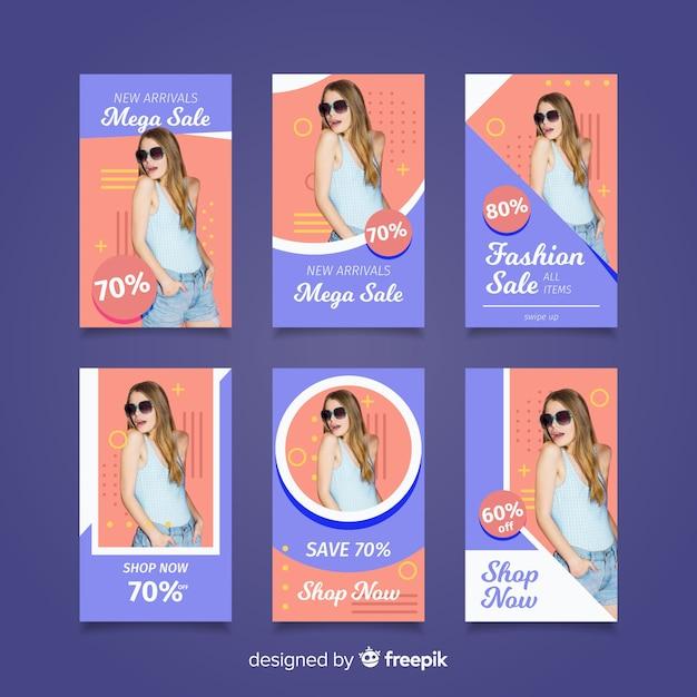 Storie di moda in vendita su instagram Vettore gratuito
