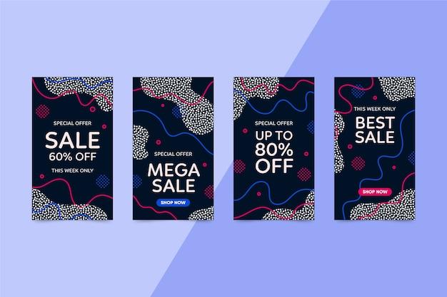 Storie di vendita astratte colorate instagram Vettore gratuito