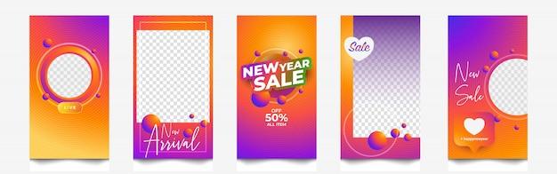 Storie e banner di instagram di vendita di capodanno Vettore Premium