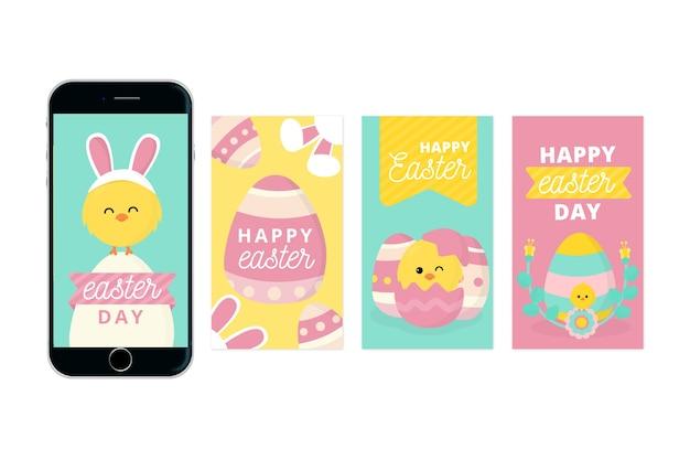 Storie felici del instagram di giorno di pasqua con il pollo dorato Vettore gratuito