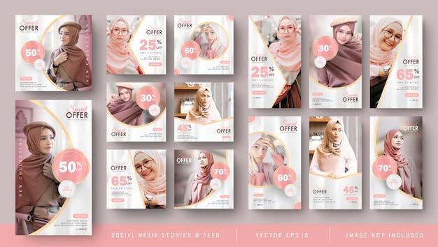 Storie instagram femminili rosa di social media e feed post banner bundle Vettore Premium