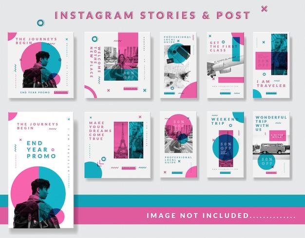 Storie minimaliste di instagram e post template set Vettore Premium