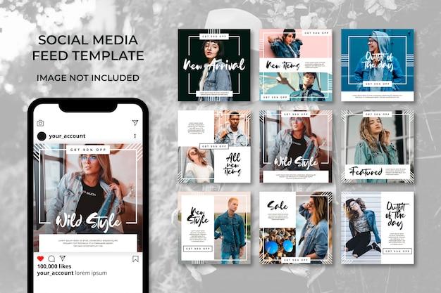 Storie minimaliste di instagram post modello set Vettore Premium