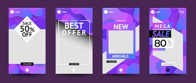 Stoties instagram set design modello Vettore Premium