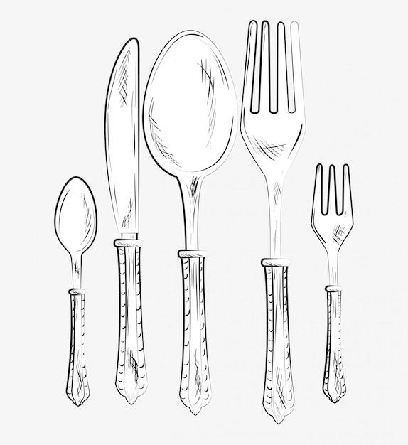 Stoviglie da ristorante e da cucina Vettore Premium