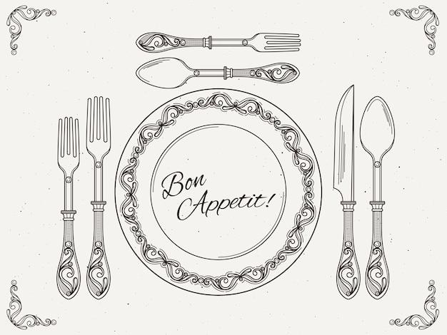 Stoviglie per banchetti piatto d'epoca con cucchiaio, forchetta e coltello. simboli di mangiare sul poster retrò vettoriale Vettore Premium