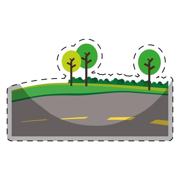 Strada asfaltata con alberi sull'immagine icona della strada Vettore Premium