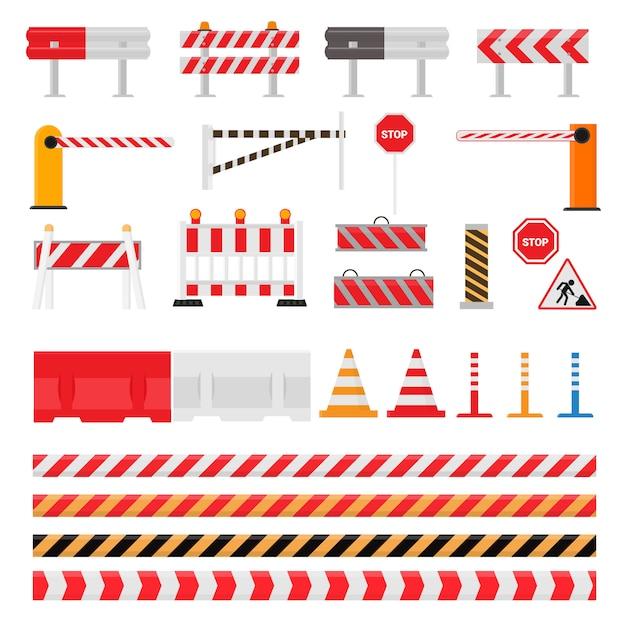 Strada barriera strada traffico-barriera avvertimento e blocchi barricata su autostrada illustrazione set di deviazione blocco stradale e blocco stradale bloccato isolato su sfondo bianco Vettore Premium