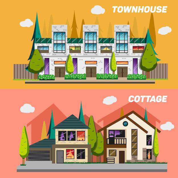 Strada con case a schiera e case di campagna con giardino Vettore Premium