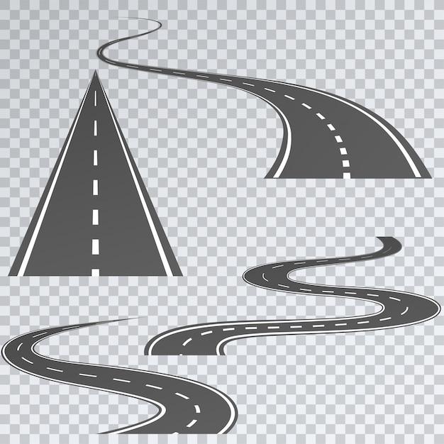 Strada con strisce bianche su un plaid, impostare percorsi curvi Vettore Premium