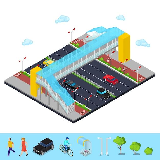 Strada di città isometrica con ponte pedonale e pista ciclabile Vettore Premium