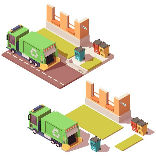 Strada isometrica con camion della spazzatura e contenitori per rifiuti separati Vettore Premium