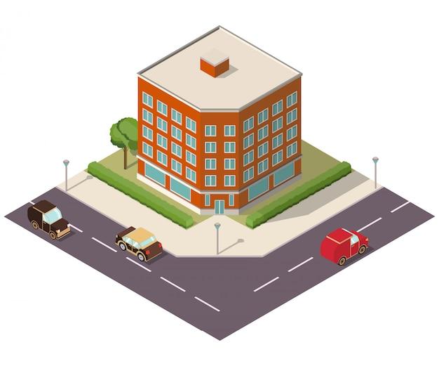 Strada isometrica con edificio e automobili Vettore Premium