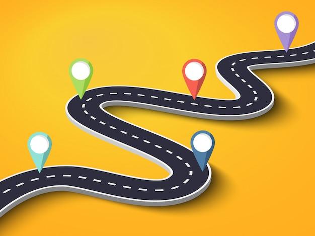 Strada tortuosa su sfondo colorato Vettore Premium