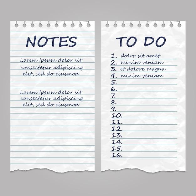 Strappato pagine di carta vintage per appunti e per fare la lista Vettore Premium