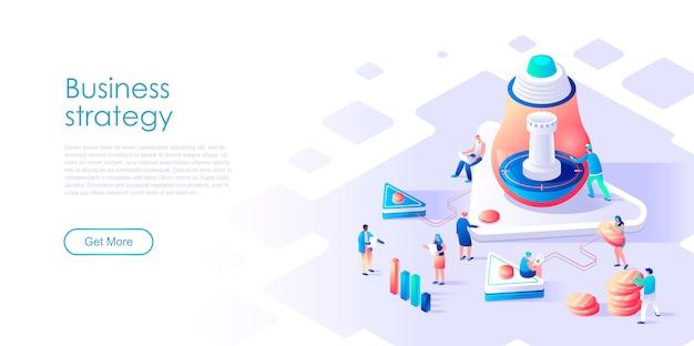 Strategia aziendale isometrica della pagina di destinazione o concetto piano commercializzante Vettore Premium