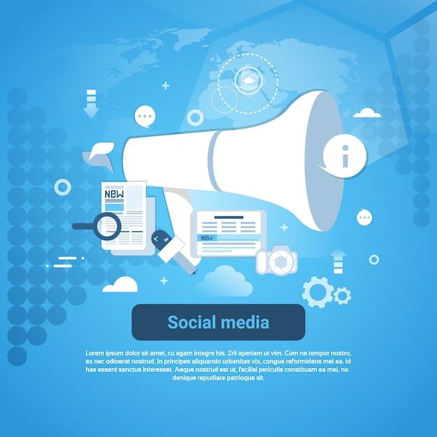 Strategia di social media marketing banner modello web con copia spazio Vettore Premium