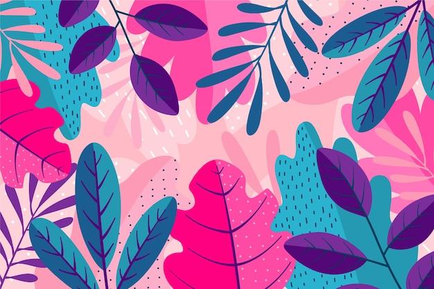 Strati di foglie colorate sullo sfondo Vettore gratuito