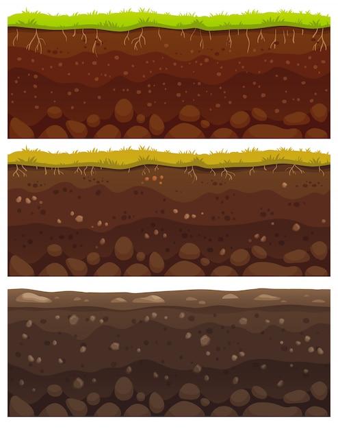 Strati di terreno senza soluzione di continuità. argilla sporca, superficie del terreno con pietre e motivo a trama di erba Vettore Premium