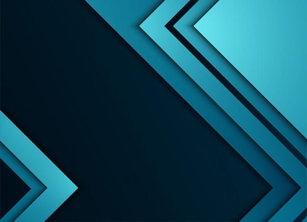Strato blu geometrico e di sovrapposizione su sfondo blu Vettore Premium