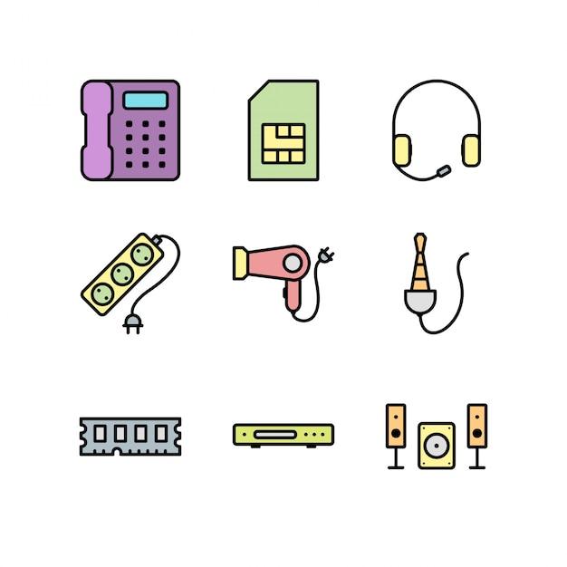 Strato delle icone degli apparecchi elettronici isolato su fondo bianco Vettore Premium