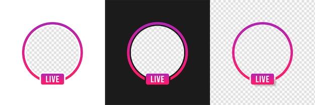 Streaming video live instagram, frame mockup Vettore Premium