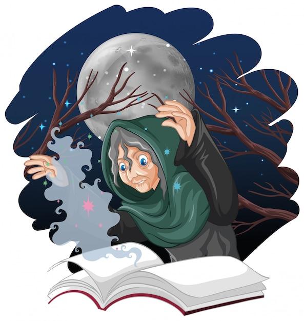 Strega anziana con incantesimo e libro stile cartoon isolato su sfondo bianco Vettore gratuito