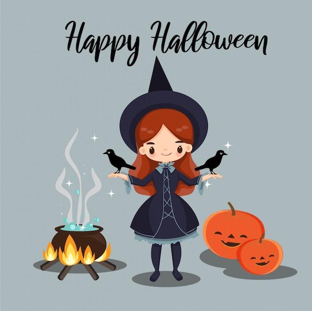 Strega carina e i suoi corvi per la carta di halloween Vettore Premium