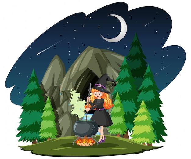 Strega con vaso nero magico stile cartoon su sfondo scuro della foresta Vettore gratuito