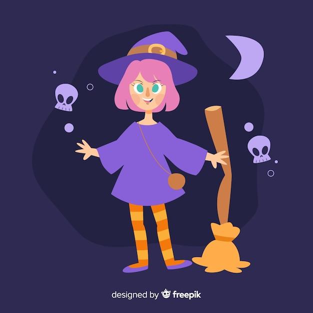 Strega di halloween carino con una scopa Vettore gratuito