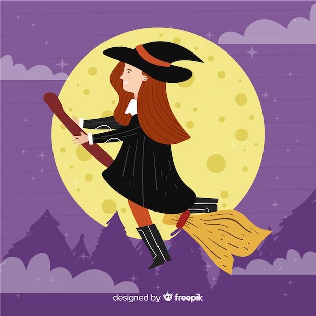 Strega di halloween carino di notte Vettore gratuito