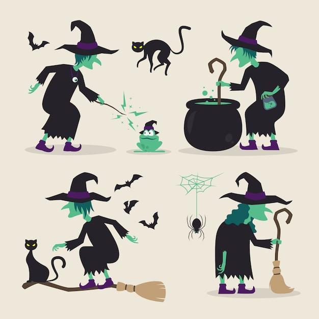Strega di halloween che fa varie attività con le loro scope, gatti neri, pipistrelli, rana, ragno, pozioni e calderone Vettore Premium