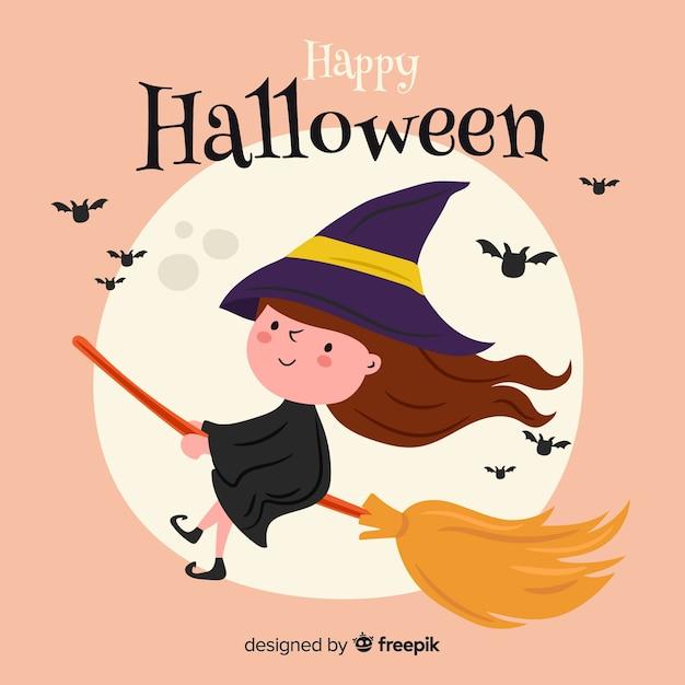 Strega di halloween felice carina Vettore gratuito