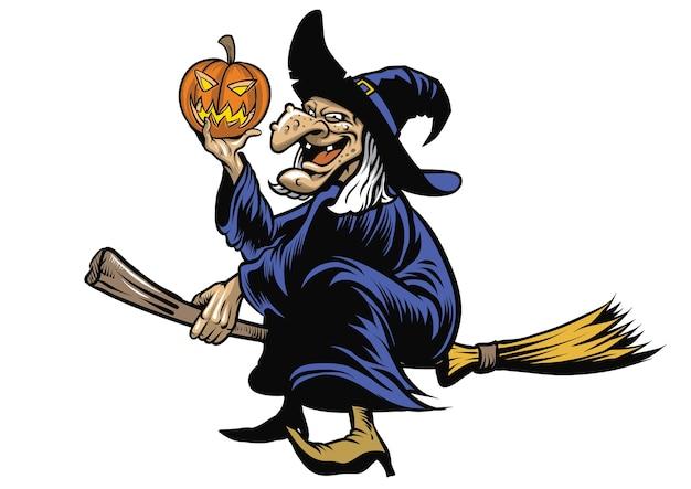 Stregone di halloween che guida la scopa volante Vettore Premium