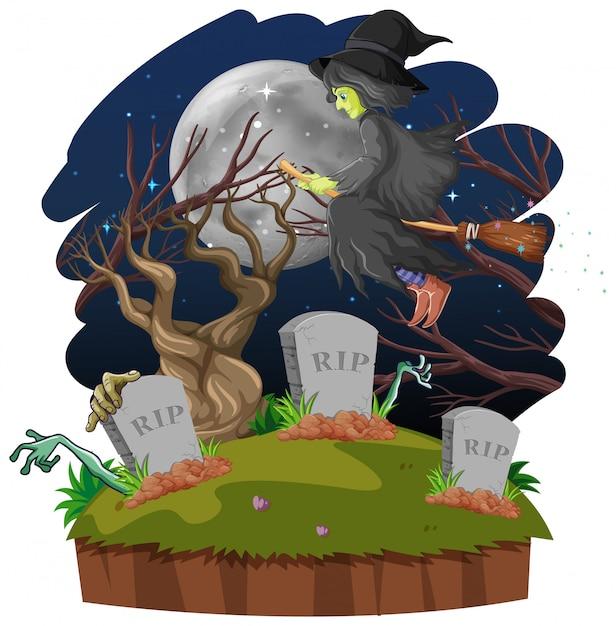 Stregone o strega con la scopa e la tomba sulla foresta scura isolata su fondo bianco Vettore gratuito