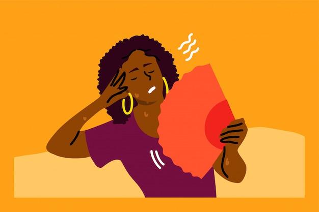 Stress mentale, calore, disidratazione, concetto di disagio Vettore Premium