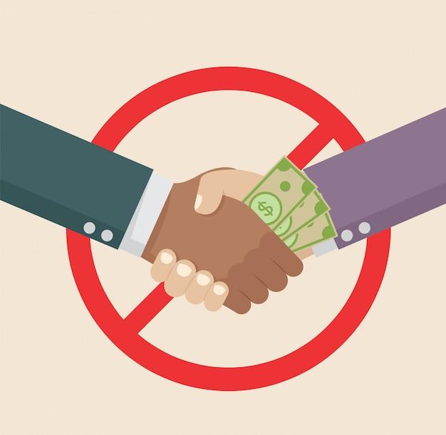 Stretta di mano di affari con la corruzione. Vettore Premium