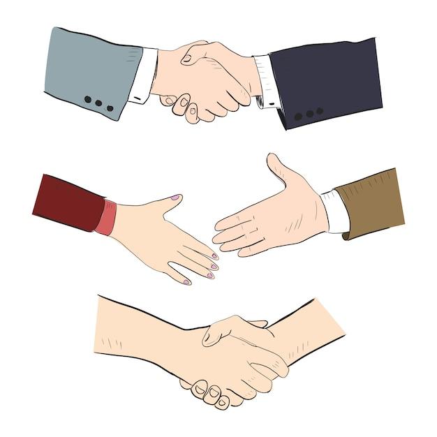 Stretta di mano di partner commerciali Vettore Premium
