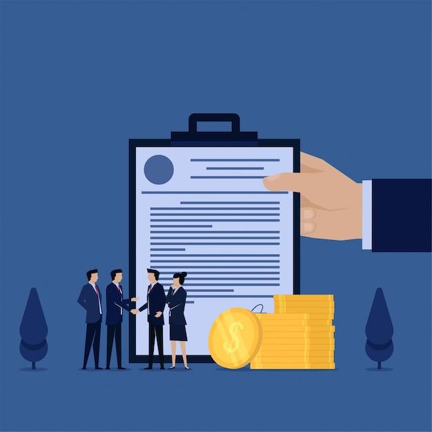 Stretta di mano piana dell'uomo di concetto di vettore di affari con il partner e il contratto Vettore Premium